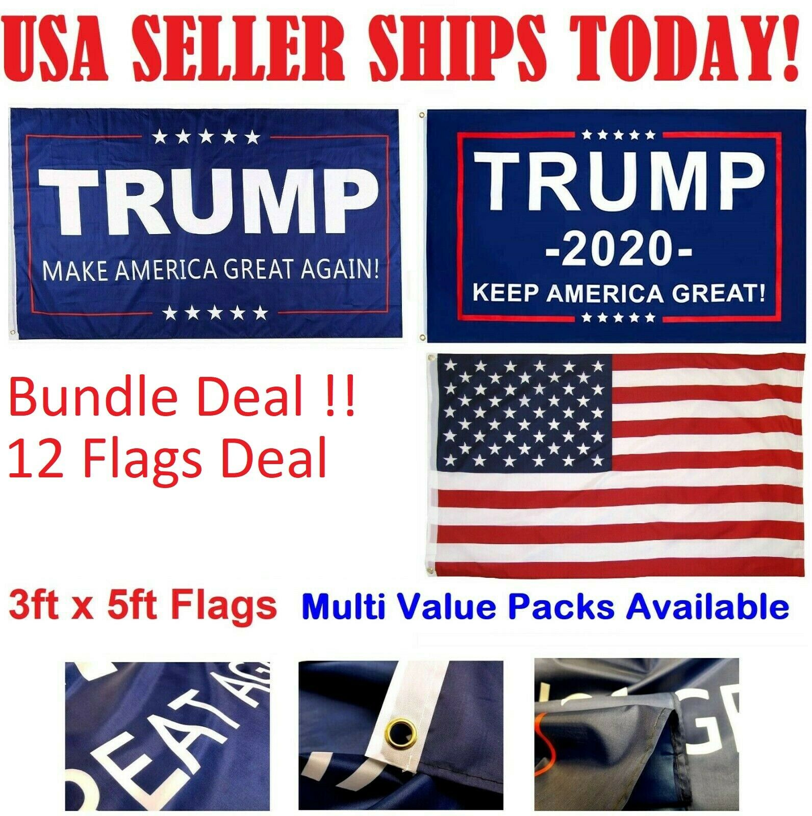 3×5 Ft Trump Flag – Make / Keep America Great Again MAGA 2020 USA Fast Shipping