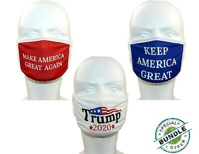 Donald Trump Face Mask 3-PACK Safety Washable Bandana...